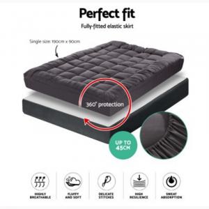 Bamboo Charcoal Microfibre Pillowtop Mattress Topper