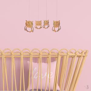 Bamboo Nursery Mobile - Owls
