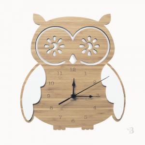 Bamboo Wall Clock - Owl