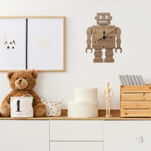 Bamboo Wall Clock - Robot