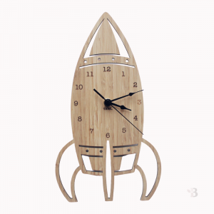 Bamboo Wall Clock - Rocket