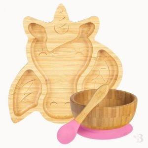 Bamboo Unicorn Plate, Bowl & Spoon Set