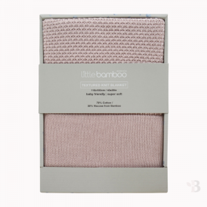 Bamboo Textured Knit Blanket - Dusty Pink